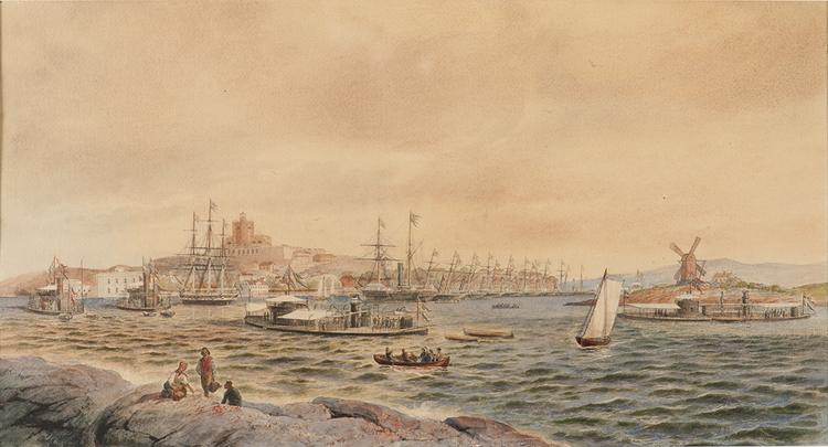 SVENSK-NORSKA ESKADERN I MARSTRANDS HAMN 1872 av JACOB HÄGG (AFFISCH)