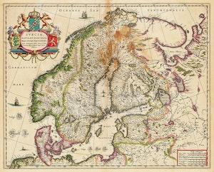 ANTIK KARTA NORGE SVERIGE FINLAND BALTIKUM av ANDERS BURE 1635