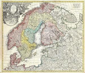 ANTIK KARTA SKANDINAVIEN FINLAND BALTIKUM 1730 av JOHANN BAPTIST HOMANN
