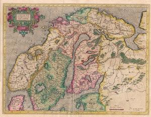 ANTIK KARTA ÖVER SVERIGE NORGE NORDEN 1595