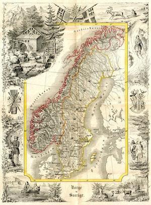 ANTIK UNIONSKARTA KARTAN ÖVER NORGE OCH SVERIGE 1847