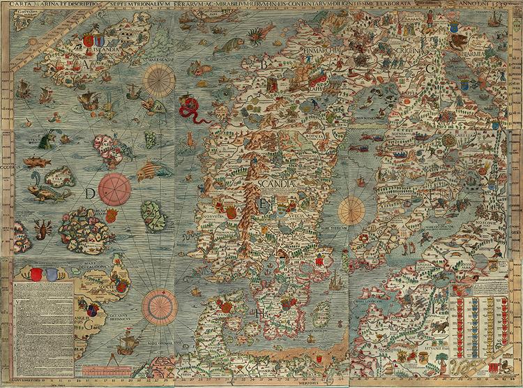 CARTA MARINA av ÄRKEBISKOP OLAUS MAGNUS Karta över Norden Baltikum Thule 1539