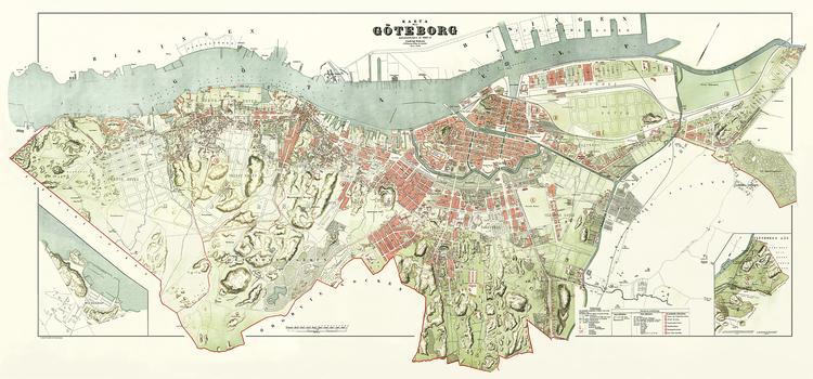 STADSKARTA GÖTEBORG 1888 av LUDVIG SIMON
