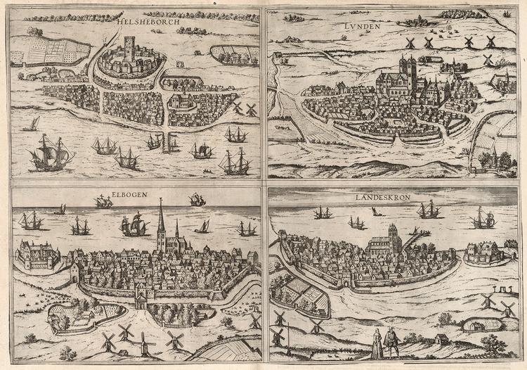 HELSINGBORG LUND MALMÖ LANDSKRONA 1588 av GEORG BRAUN & FRANZ HOGENBERG