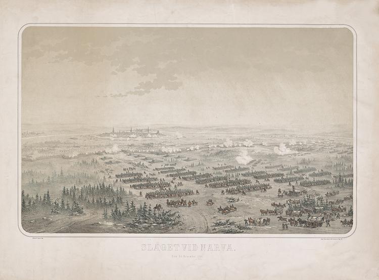 SLAGET VID NARVA Litografi av OTTO MANKELL C:a 1877