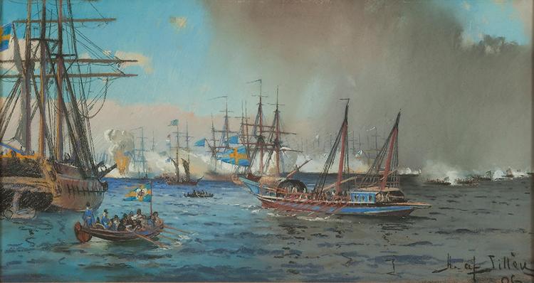 SKÄRGÅRDSSTRID MED HMS AMPHION FRÅN RYSKA KRIGET DRYCKESBÄGARE Mugg av Herman af Sillén