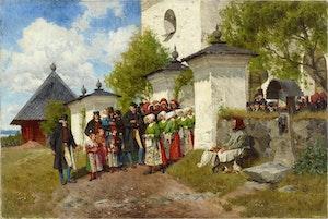 KONFIRMATION I FLODA KYRKA DALARNA 1885 av OLOF ABORELIUS
