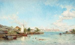 STOCKHOLM FRÅN MÄLAREN 1886 av OLOF ABORELIUS