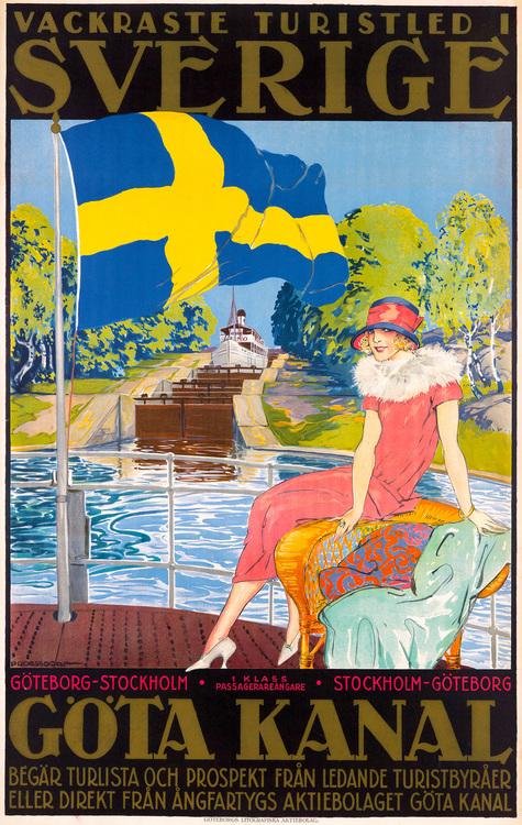 GÖTA KANAL GÖTEBORG STOCKHOLM REKLAMAFFISCH 1920 av ALFRED PROESSDORF