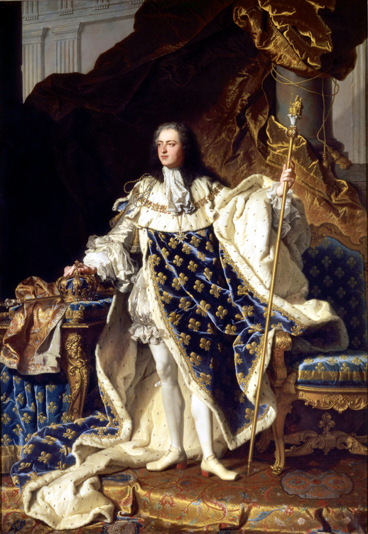 LUDVIG XV I KRÖNINGSSKRUD 1730 av Hyacinthe Rigaud