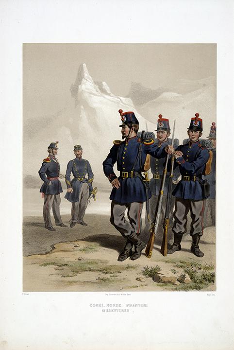 Musketerare vid Norska infanteriet. Efter Fritz von Dardel