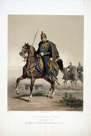 Skånska husarregementet. Fredrik VII av Danmark till häst. Efter Fritz von Dardel