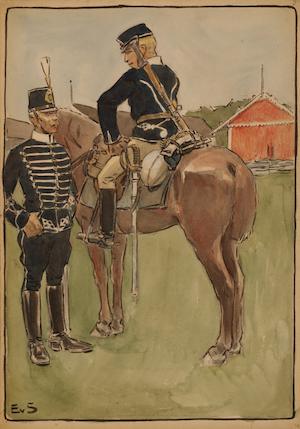 LIVREGEMENTETS HUSARER ritad av Einar von Strokirch
