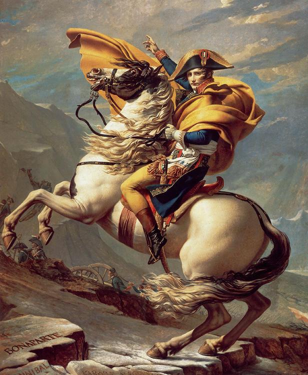 NAPOLEON BONAPARTE KORSAR ALPERNA av Jacques-Louis David 2:a VERSIONEN