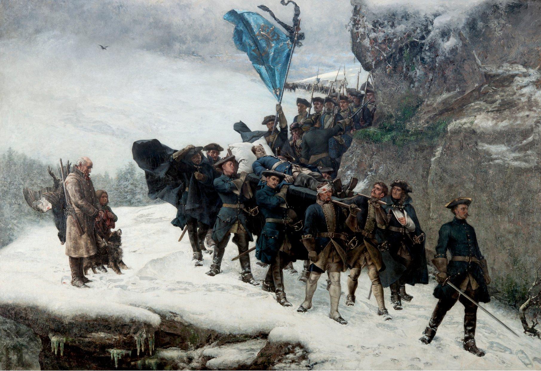 KARL XII:s LIKFÄRD 1878 av Gustaf Cederström