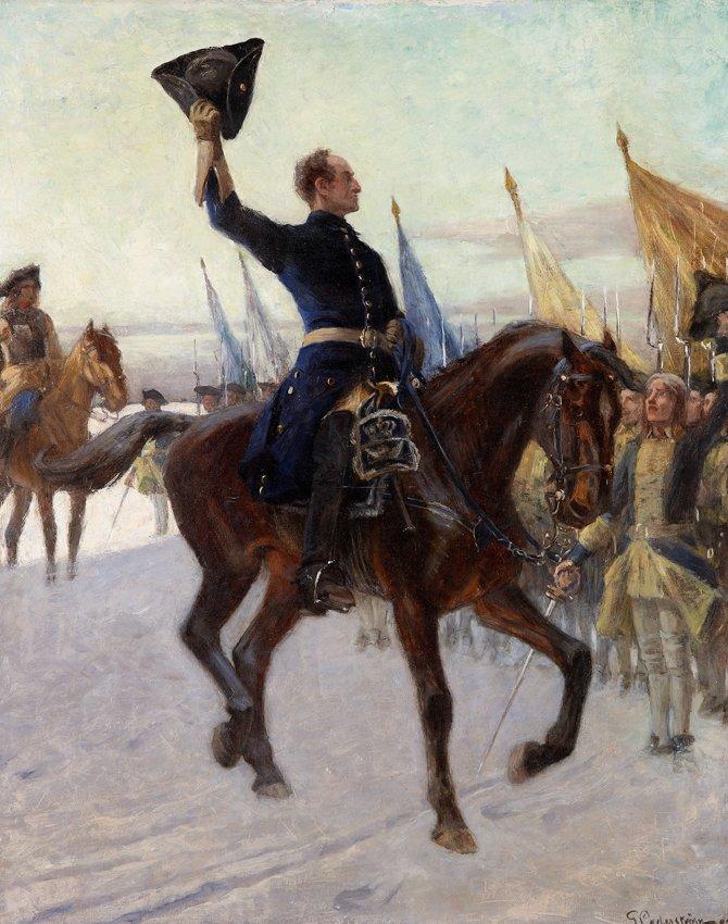 KARL XII HÄLSAR SINA KAROLINER av Gustaf Cederström