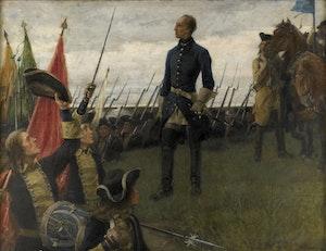 KARL XII HYLLAS AV SINA KAROLINER av Gustaf Cederström