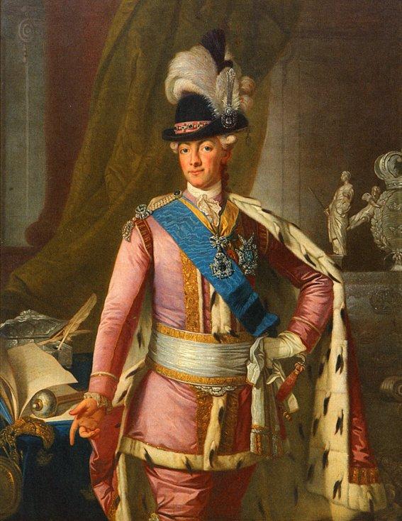GUSTAV III IKLÄDD CEREMONIDRÄKTEN av Per Krafft den äldre