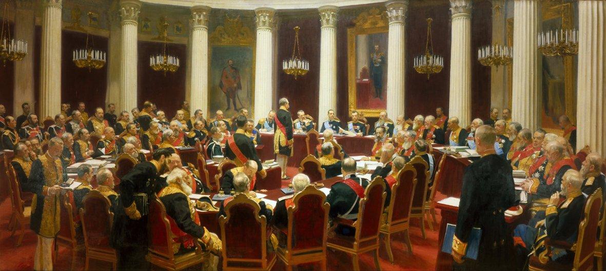 NICHOLAS II IN THE STATE COUNCIL 1901 - NIKOLAJ II I STATLIGA RÅDET 1901 by/av Ilja Repin