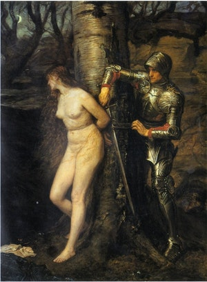 KNIGHT-ERRANT AND A DAMSEL IN DISTRESS - RIDDARE RÄDDER JUNGFRU I NÖD av John Everett Millais