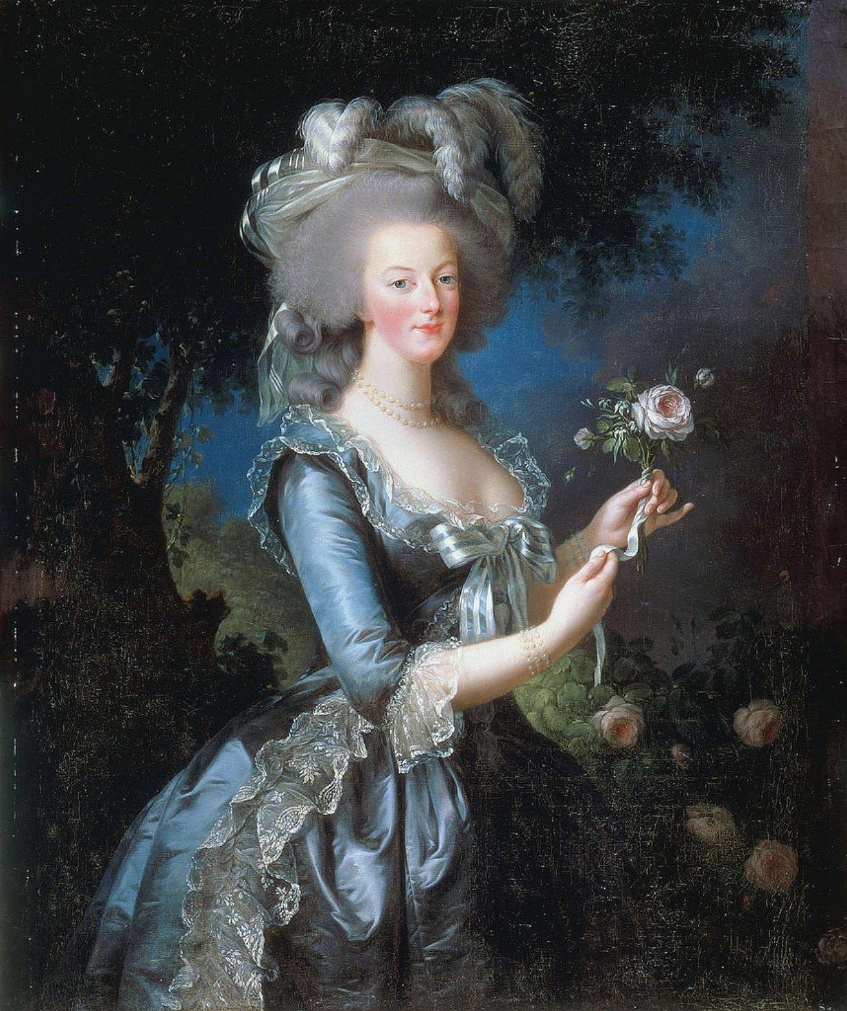MARIE ANTOINETTE MED ROS av Louise Elisabeth Vigée Lebrun