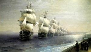 ÖVERSYN AV SVARTA HAVETS FLOTTA av Ivan Konstantinovich Aivazovsky