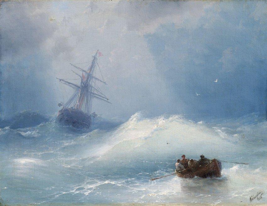 SKEPP I HAVSNÖD av Ivan Konstantinovich Aivazovsky