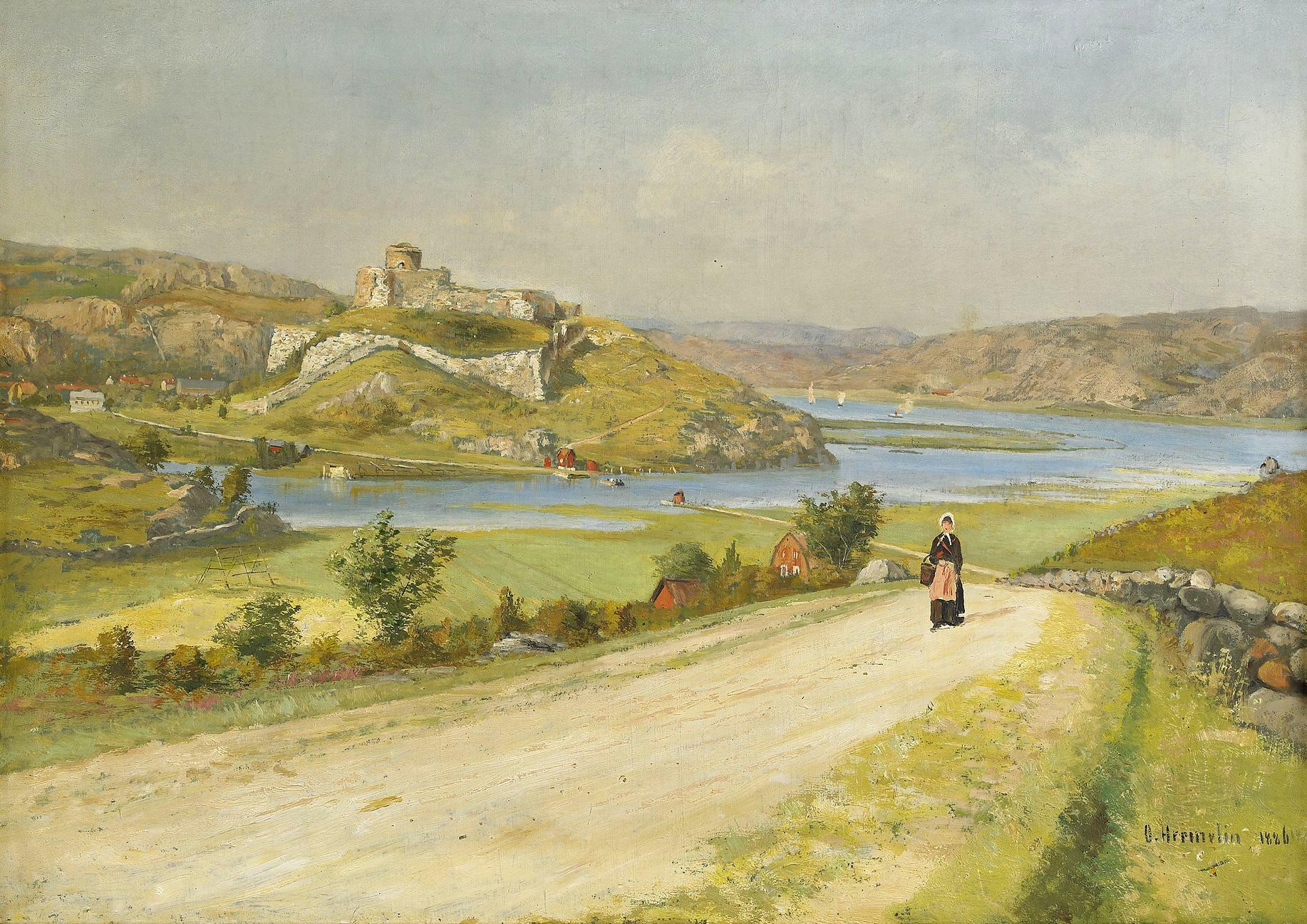 UTSIKT MOT BOHUS FÄSTNING 1896 av OLOF HERMELIN