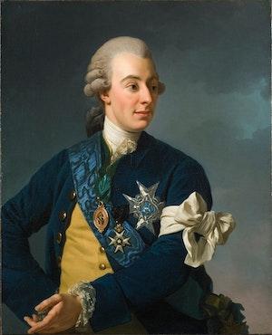 GUSTAV III MED FRIHETSBINDELN av Alexander Roslin - STOR PÅ DUK