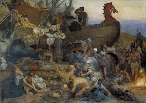 VIKING BEGRAVNING FRÅN NJÁLS SAGA av Henry Semiradsky
