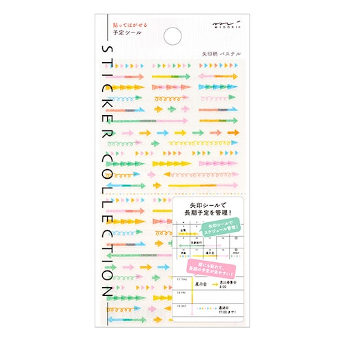 Midori Sticker Collection Plan Arrow Pastel