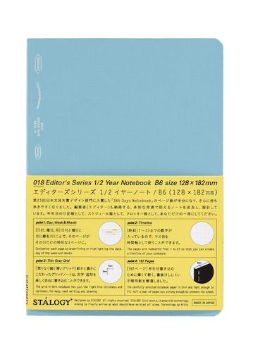 Stálogy 018 1/2 Year Notebook [B6] Blå