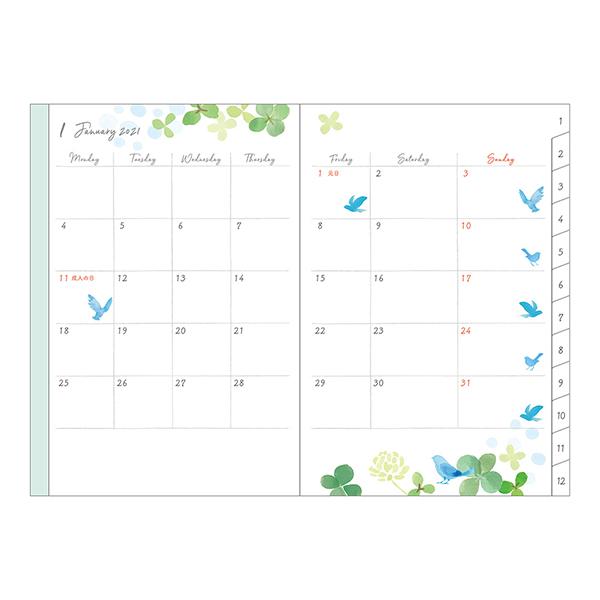 Midori MD 2021 Pocket Diary B6 Clover