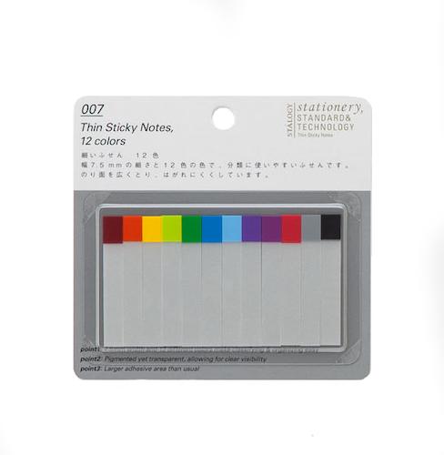 Stálogy 007 Thin Sticky Notes, 12 colours