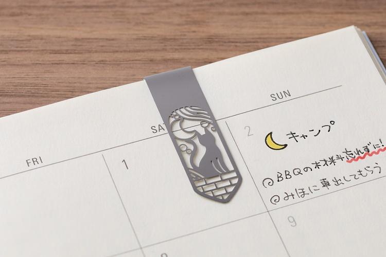 Midori Clip Bookmarker Cat & Moon