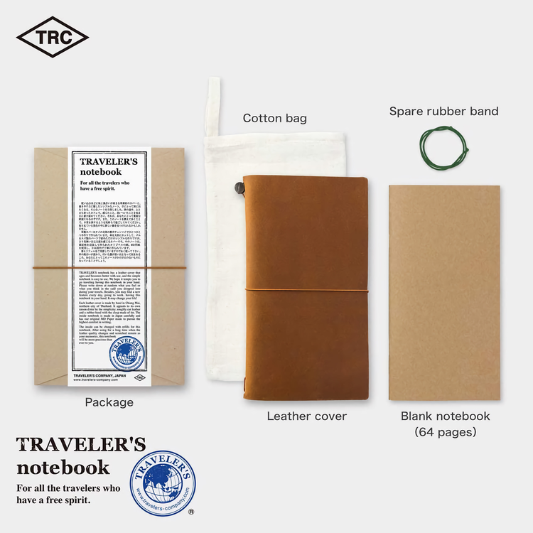 Traveler's Company Traveler's notebook – Camel, Regular size (Starter Kit)