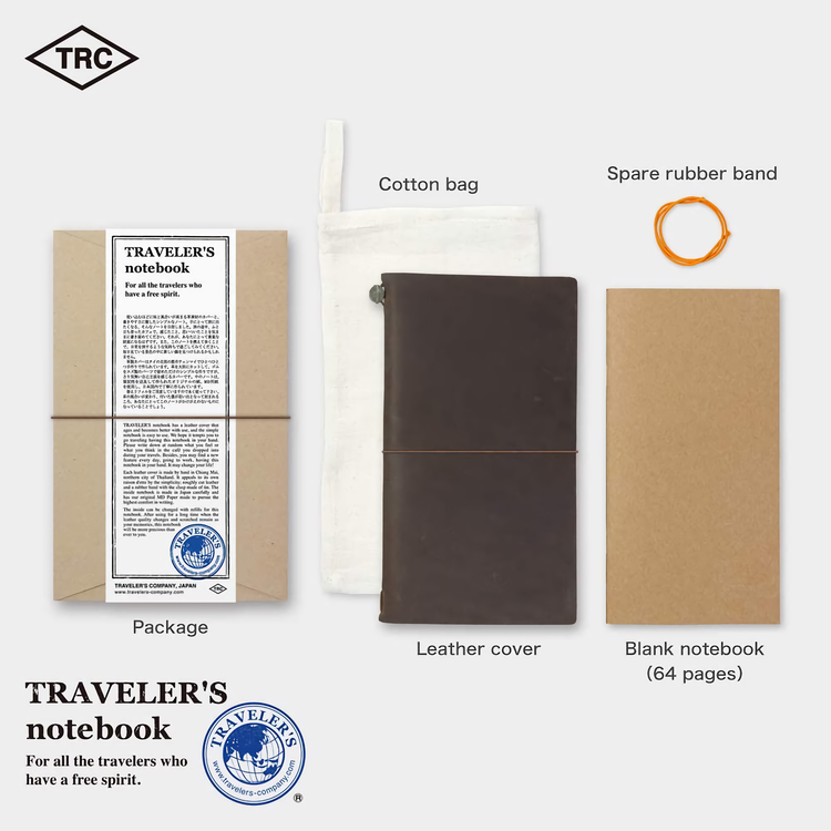 Traveler's Company Traveler's notebook – Brown, Regular size (Starter Kit)