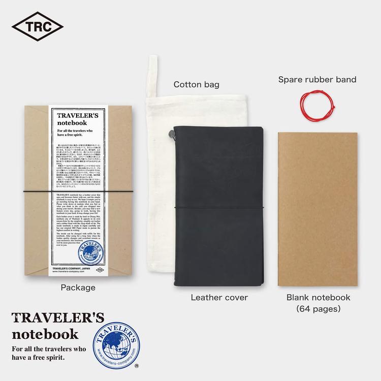 Traveler's Company Traveler's notebook – Black, Regular size (Starter Kit)