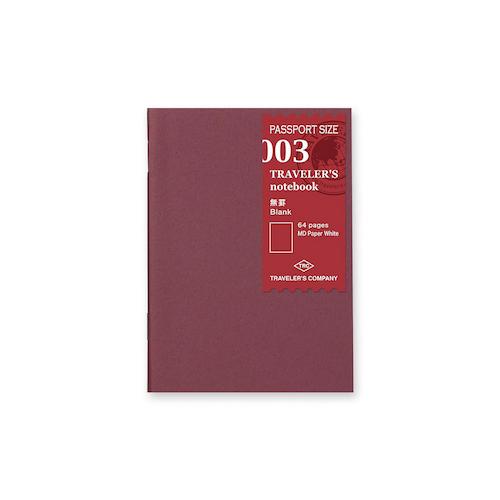 Traveler's Company Traveler's notebook - 003 Blank Notebook, Passport Size
