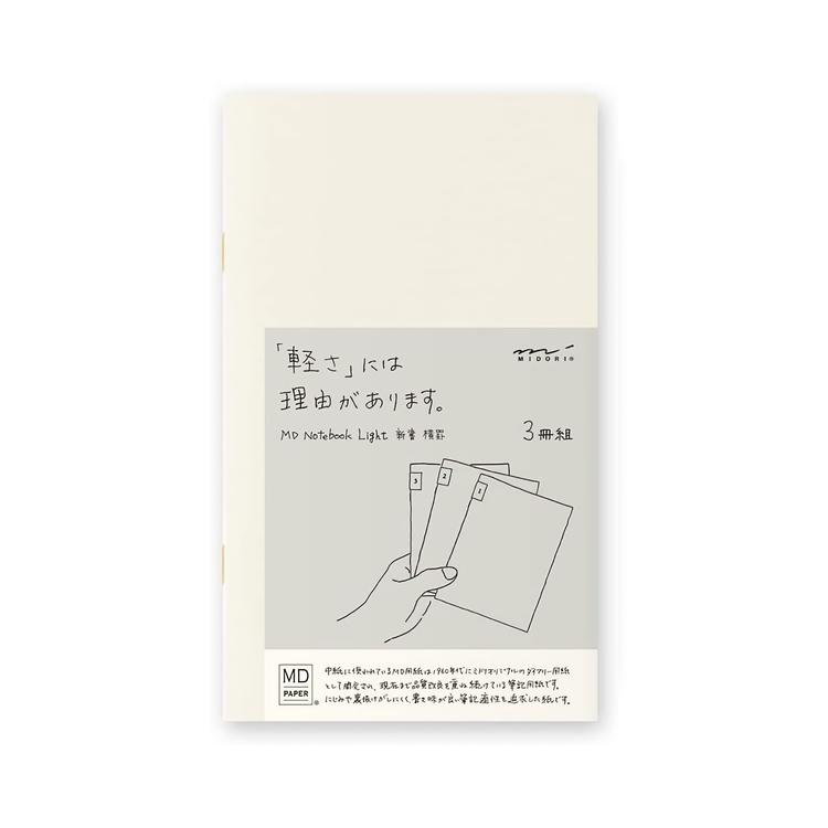 Midori MD Notebook Light [B6 Slim] Linjerad 3-pack