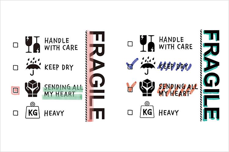 Midori Paintable Stamp Pre-inked Fragile