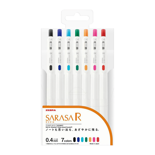 Zebra Sarasa R Gel Pen 7-pack 0,4 mm