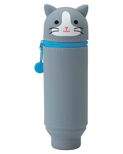 Lihit Lab Smart Fit PuniLabo Stand Pen Case Gray Cat