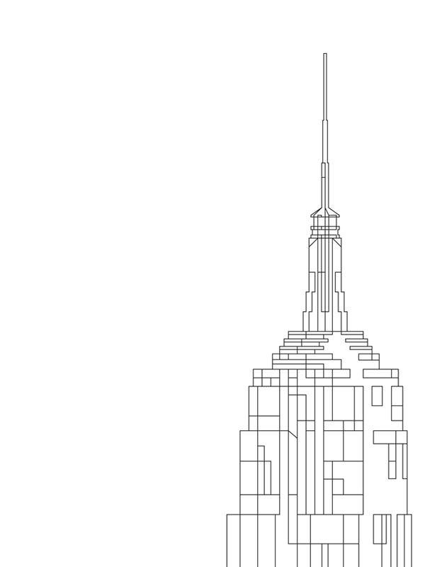 Empire State Building - svart-vit