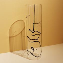 Genomskinlig handmålad vas, 28 cm