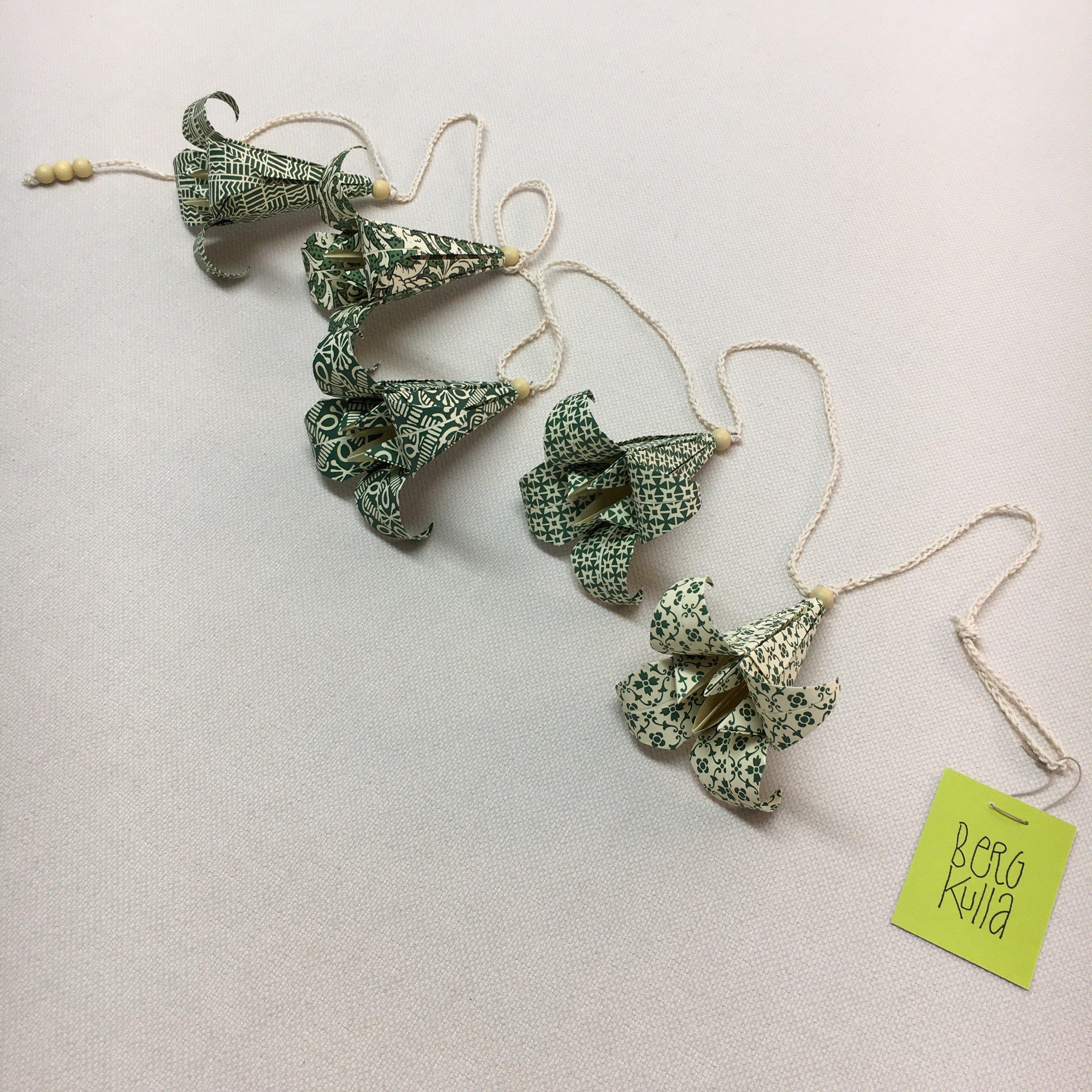 Origami-slinga Skogsgrön