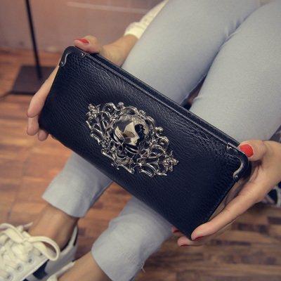 MONEY FOR NOTHING - Svart plånbok med dödskalle
