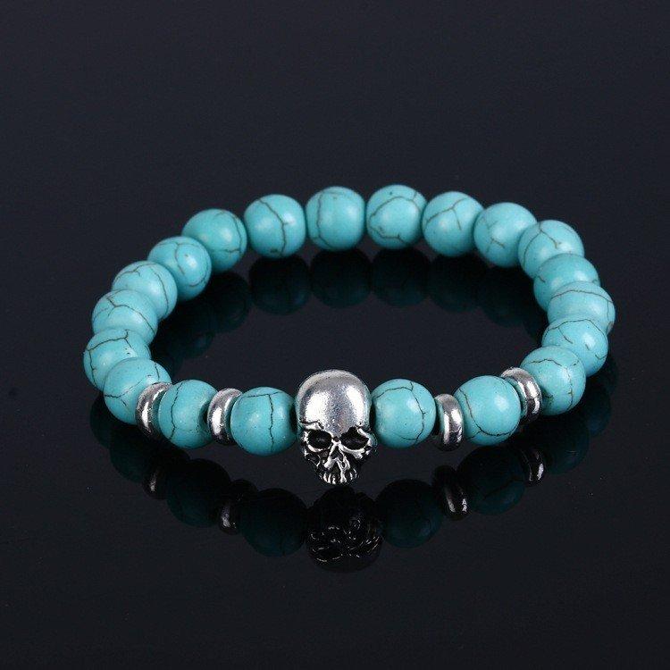 UPTOWN FUNK - Turkost armband med pärlor och döska