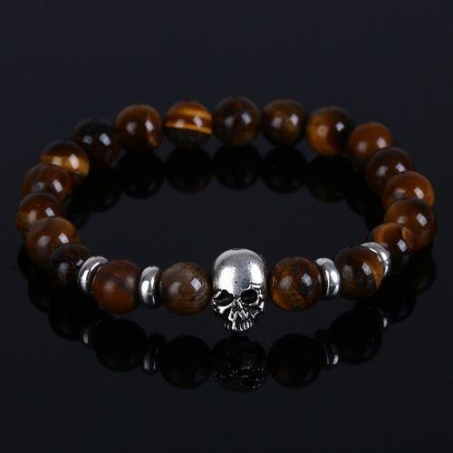 UPTOWN FUNK - Armband med pärlor och döskalle, brun