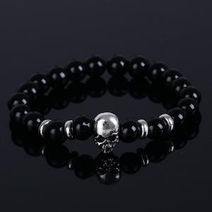 UPTOWN FUNK - Armband med pärlor och döskalle